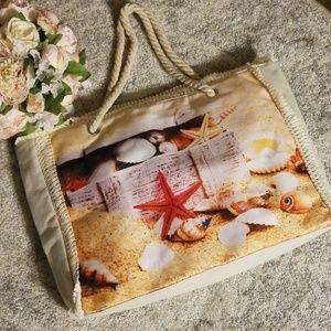 Handbags - NWOT Beach Scene Tote bag with Rope Straps